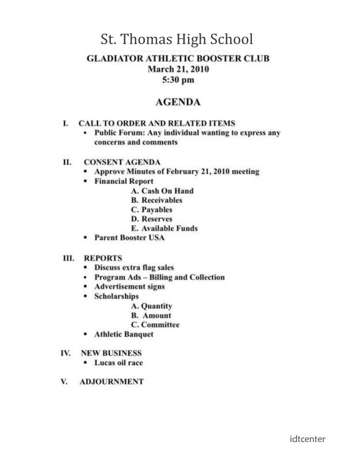 booster club meeting agenda template