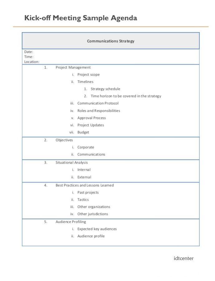 digital project management kick off meeting agenda