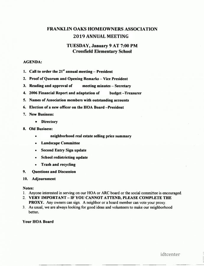 hoa annual meeting agenda template