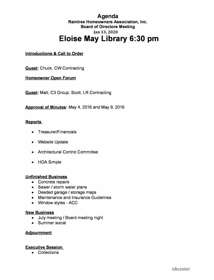 homeowners association meeting agenda template