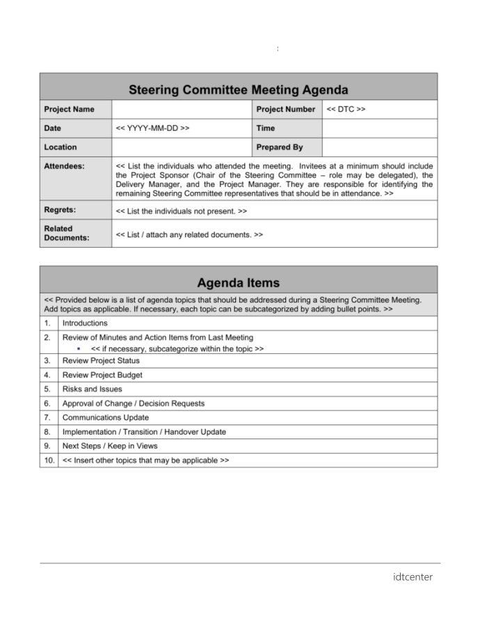it steering committee agenda template