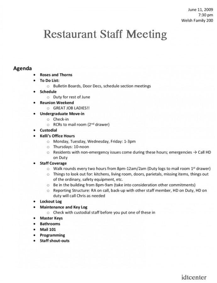 restaurant staff meeting agenda template