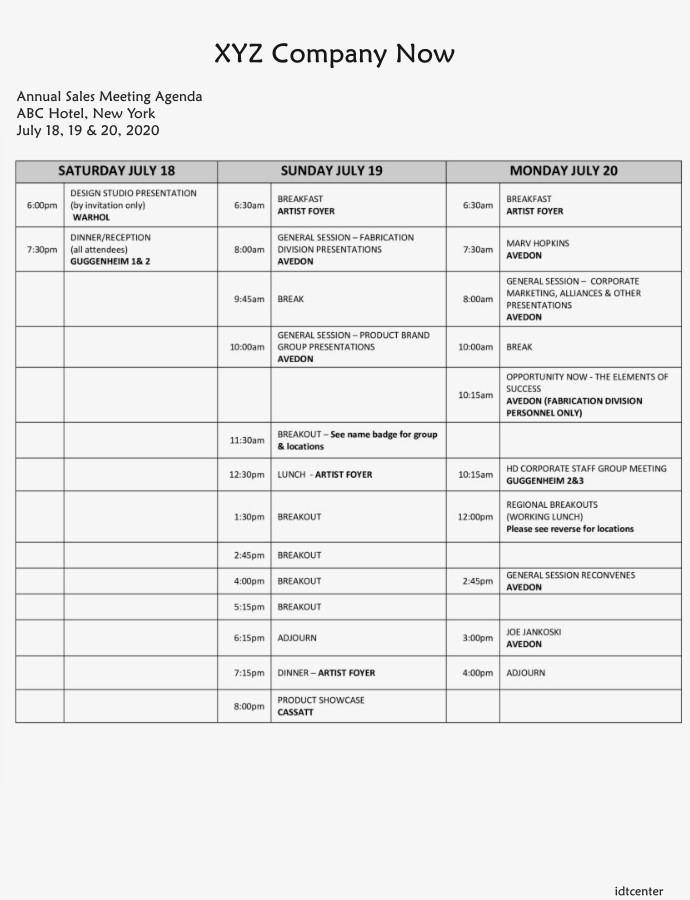 annual sales meeting agenda