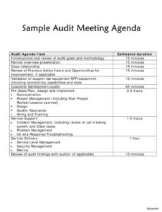 audit meeting agenda template