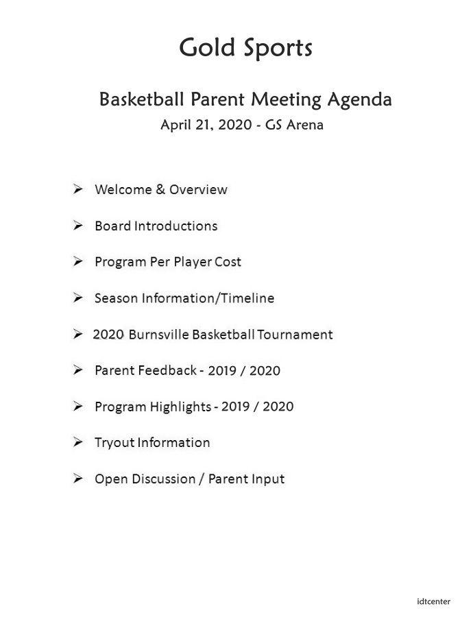 basketball parent meeting agenda