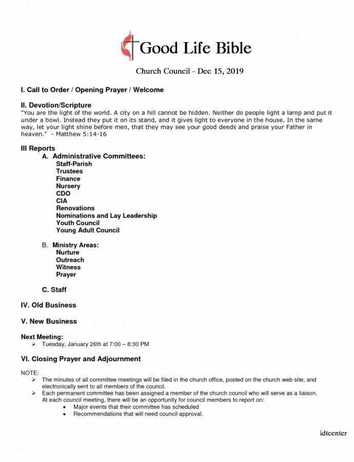 church council meeting agenda template