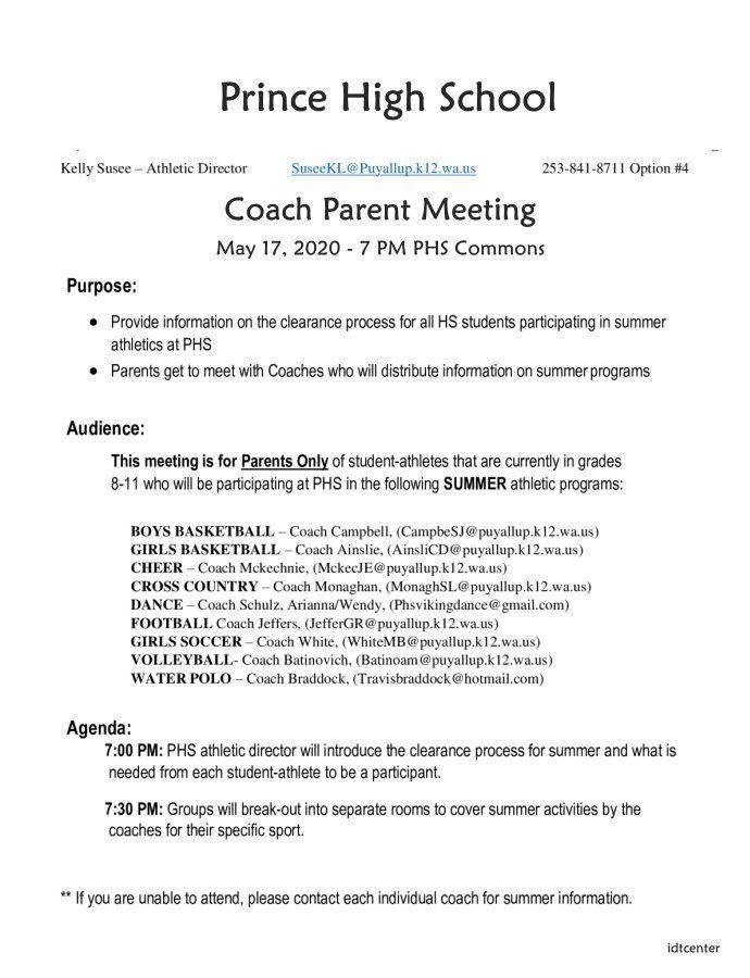 Coach Parent Meeting Agenda