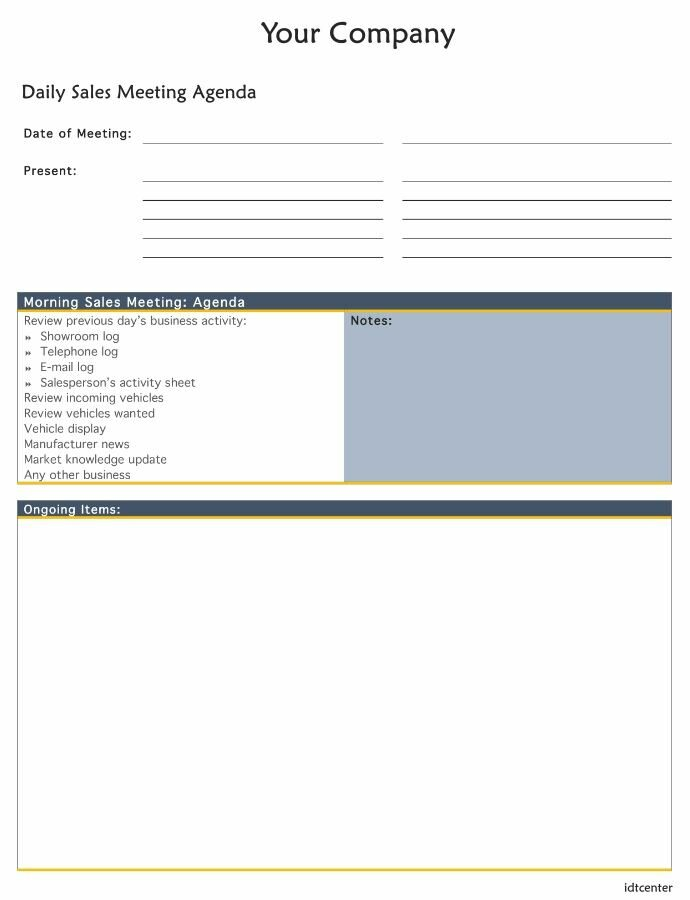 Daily Internal Sales Meeting Agenda Template
