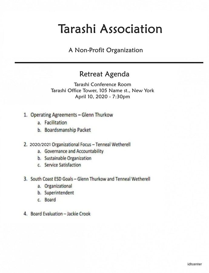 nonprofit board retreat agenda template