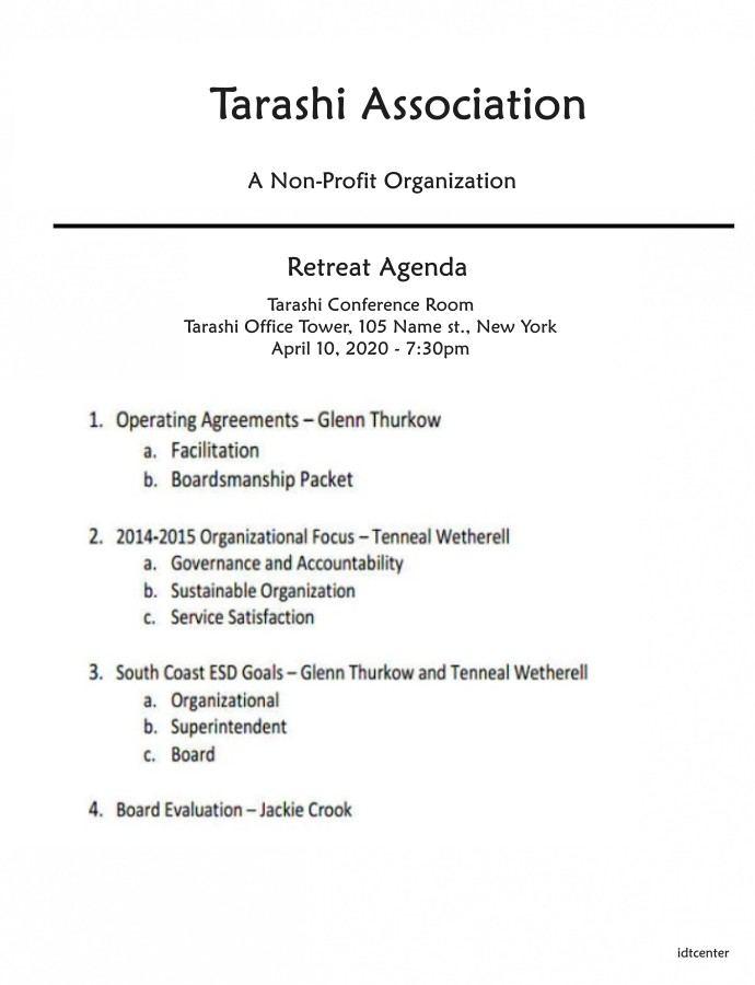 nonprofit board retreat agenda