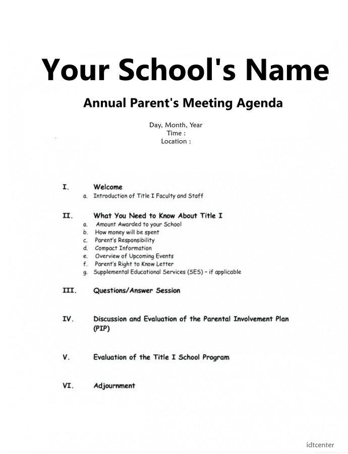 parent meeting agenda template