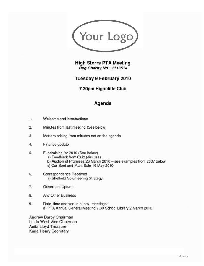 Parent Teacher Association Meeting Agenda