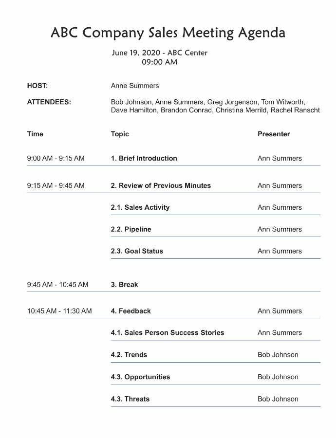 Real Estate Sales Meeting Agenda Template