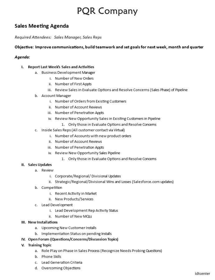 Sales Team Meeting Agenda Template