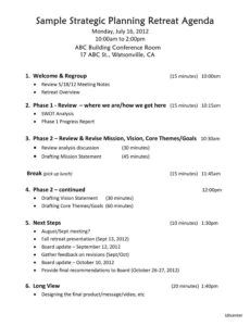 strategic planning retreat agenda template