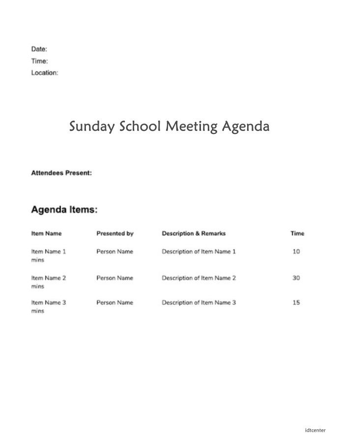 Simple Sunday School Meeting Agenda Template