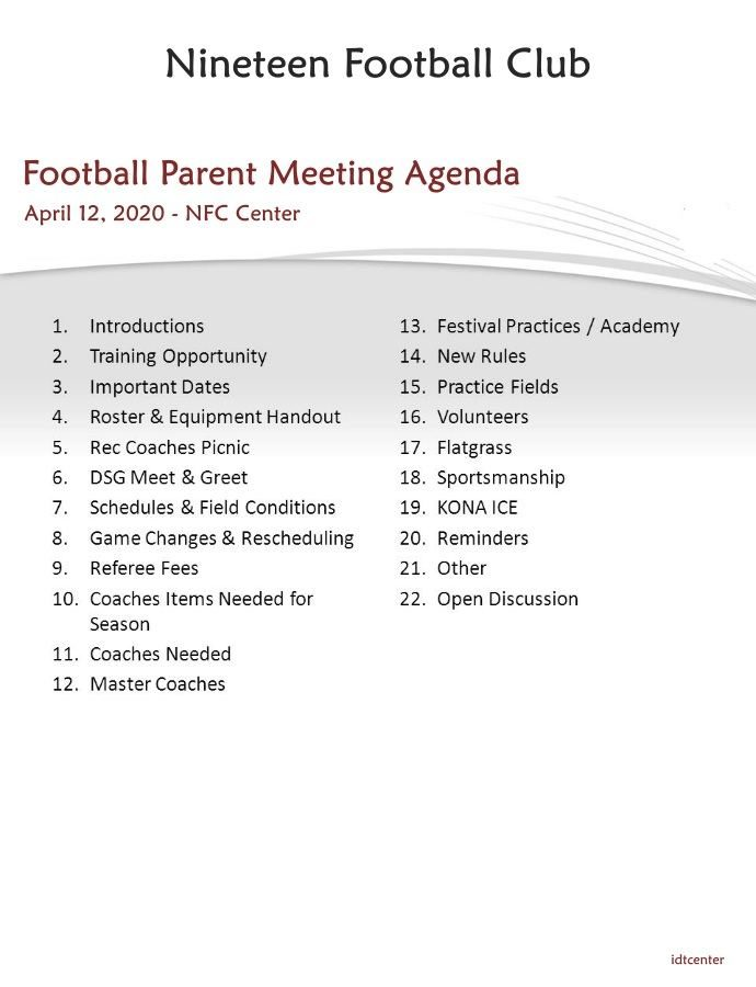 Youth Football Parent Meeting Agenda