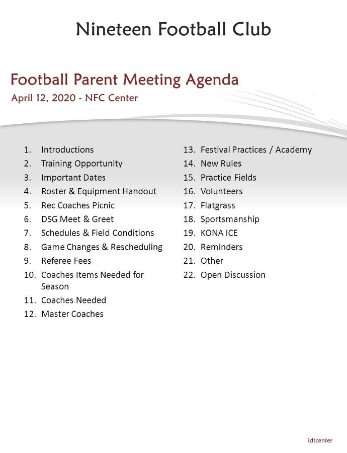 Youth Football Parent Meeting Agenda