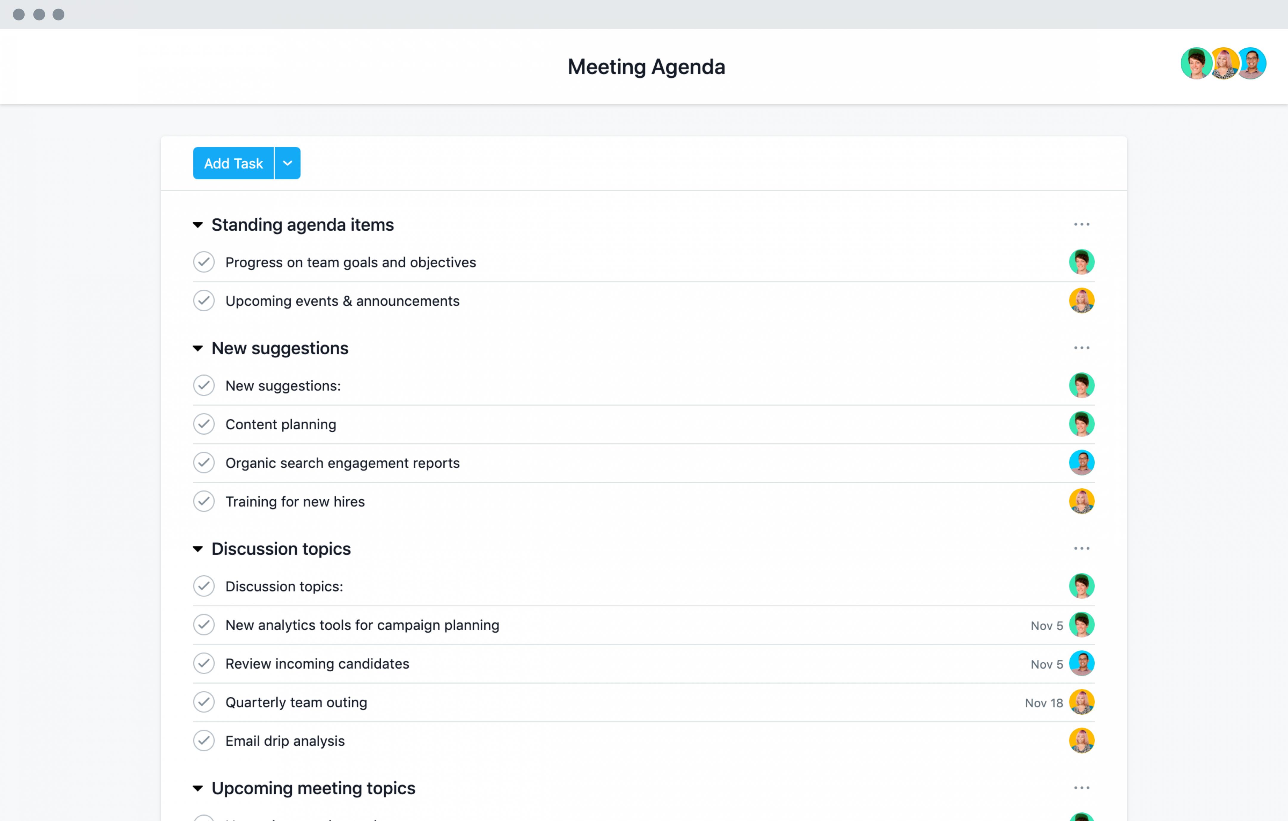 Editable Easy To Adapt Meeting Agenda Template · Asana Template For An Agenda For A Meeting Sample