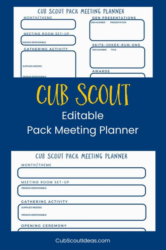 Free Cub Scout Pack Meeting Planner ~ Cub Scout Ideas Cub Scout Den Meeting Agenda Template Example