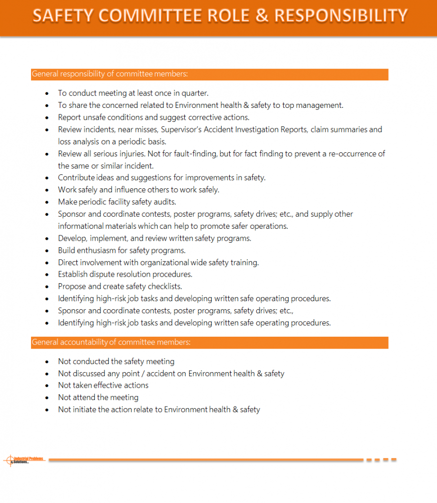 Free Safety Committee Role & Responsibility Safety Committee Meeting Agenda Template Sample