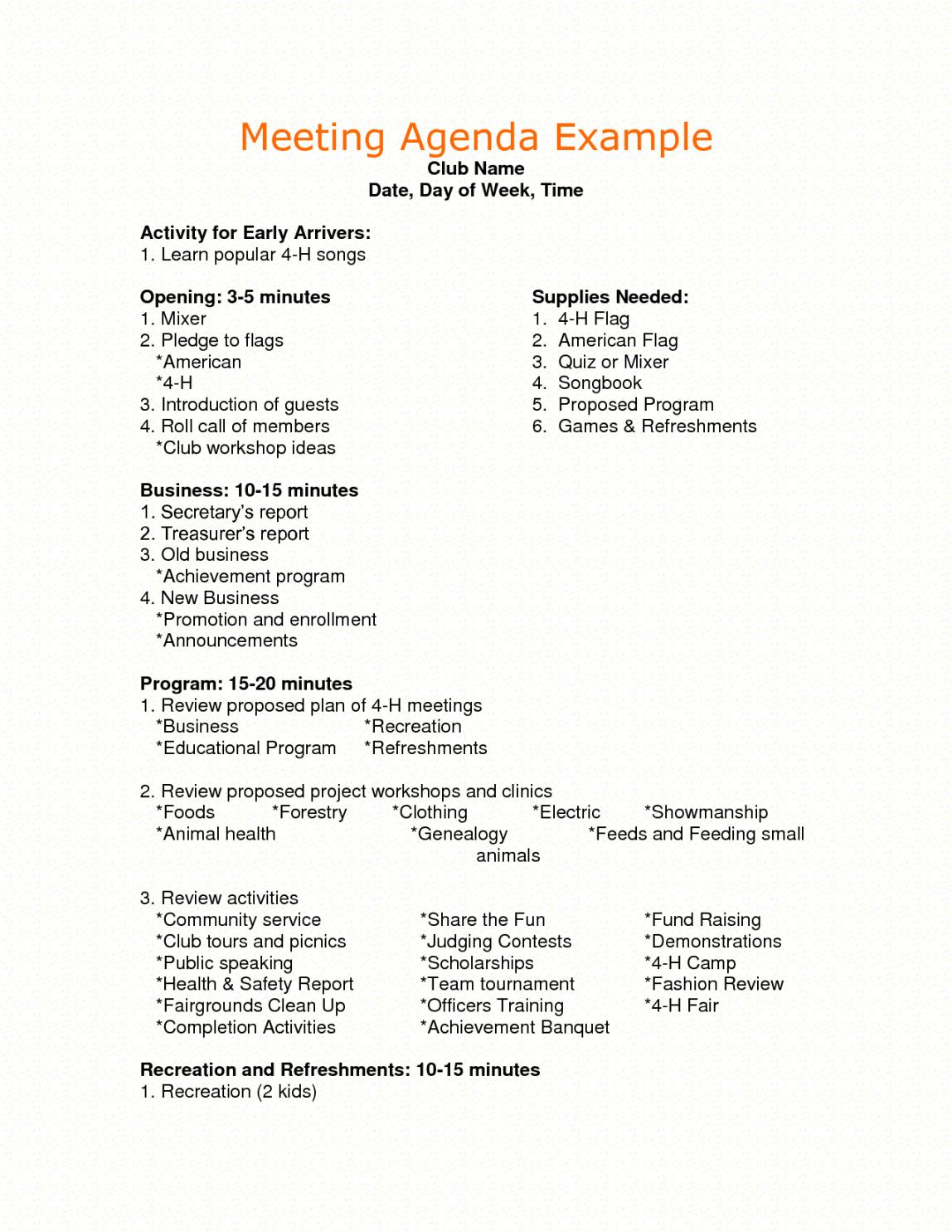 Free Sample Agenda For Business Meeting  Google Search  Agenda Small Business Meeting Agenda Template Word