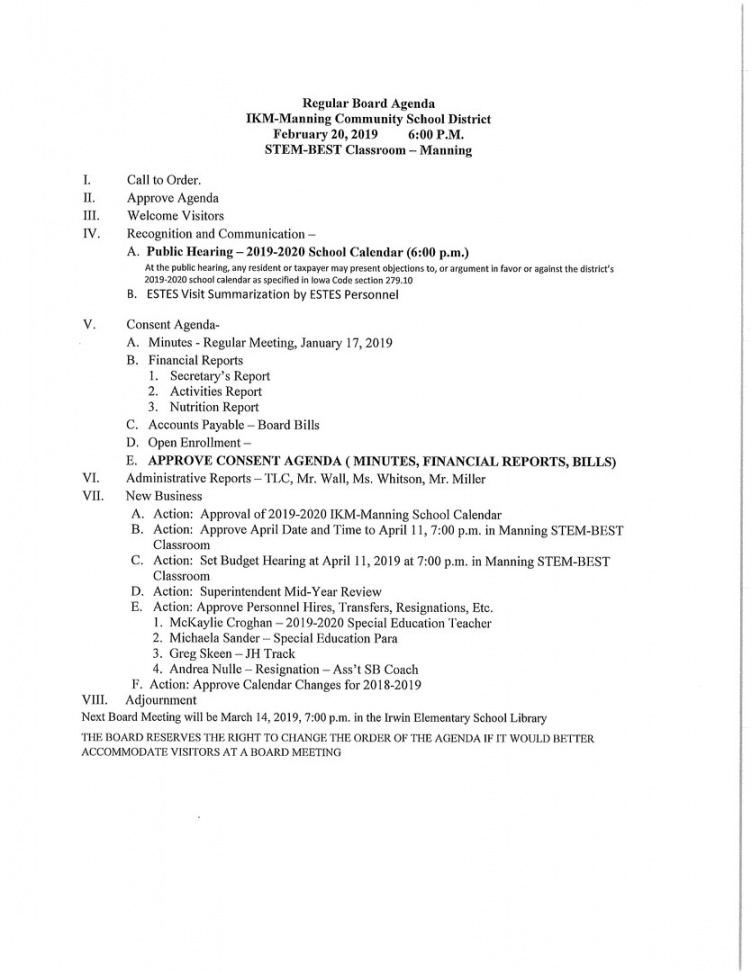 ikmmanning csd  february 2019 board meeting agenda booster club meeting agenda vorlage example