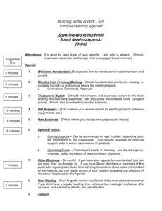 nonprofit board meeting agenda template 5  meeting agenda sample agenda template for board meeting doc