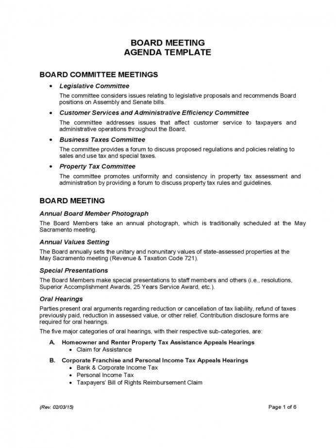 Printable Board Meeting Agenda Template  California Free Download Board Of Directors Agenda Template