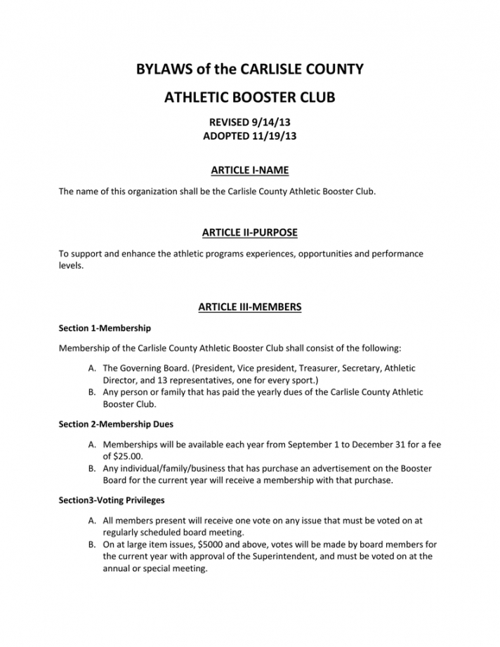 printable bylaws of the carlisle county athletic booster club revised booster club meeting agenda vorlage word