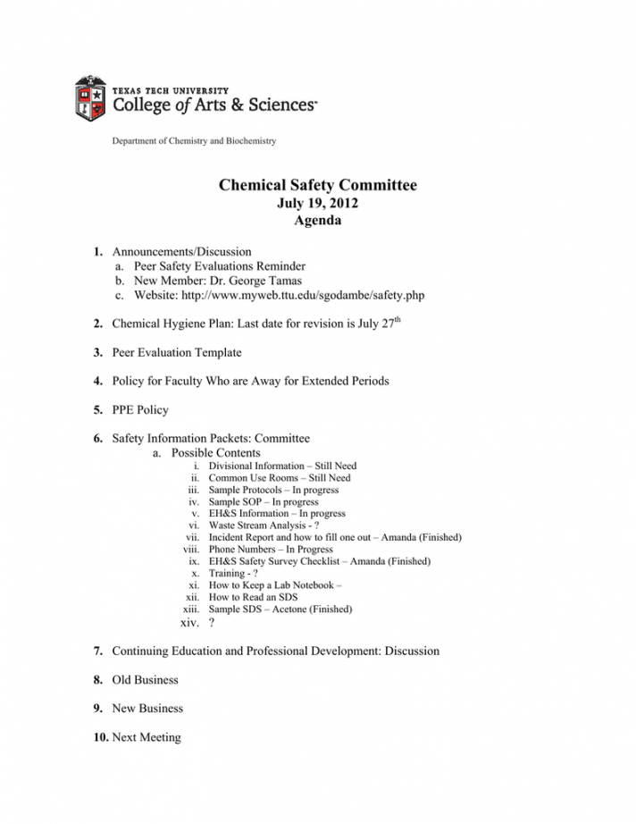 Printable Chemical Safety Committee July 19 2012 Agenda Safety Committee Meeting Agenda Template Doc