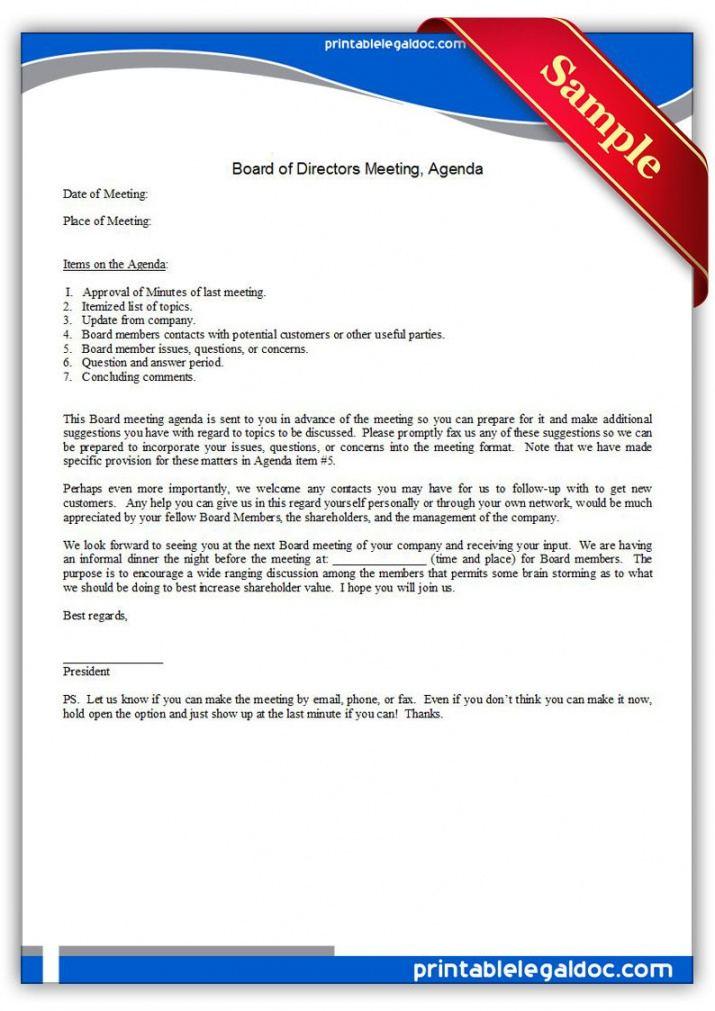 Printable Free Printable Board Of Directors Meeting Agenda Form Board Of Directors Agenda Template Word