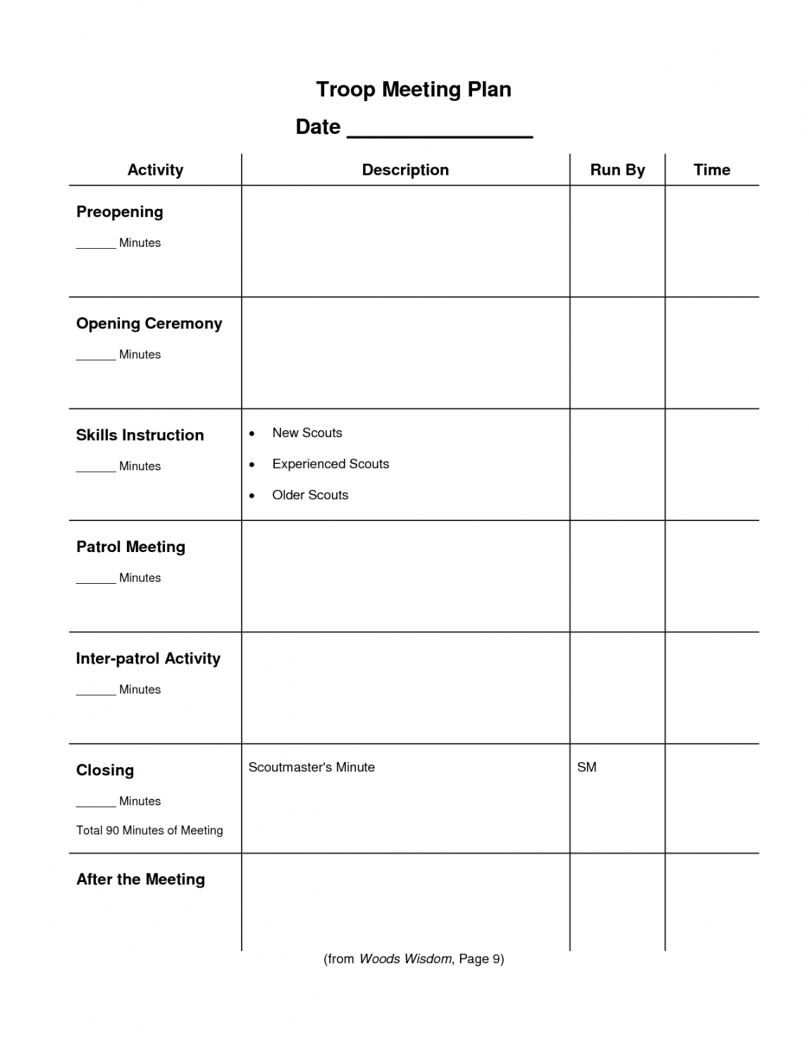 printable pin on cub scouts cub scout den meeting agenda template sample