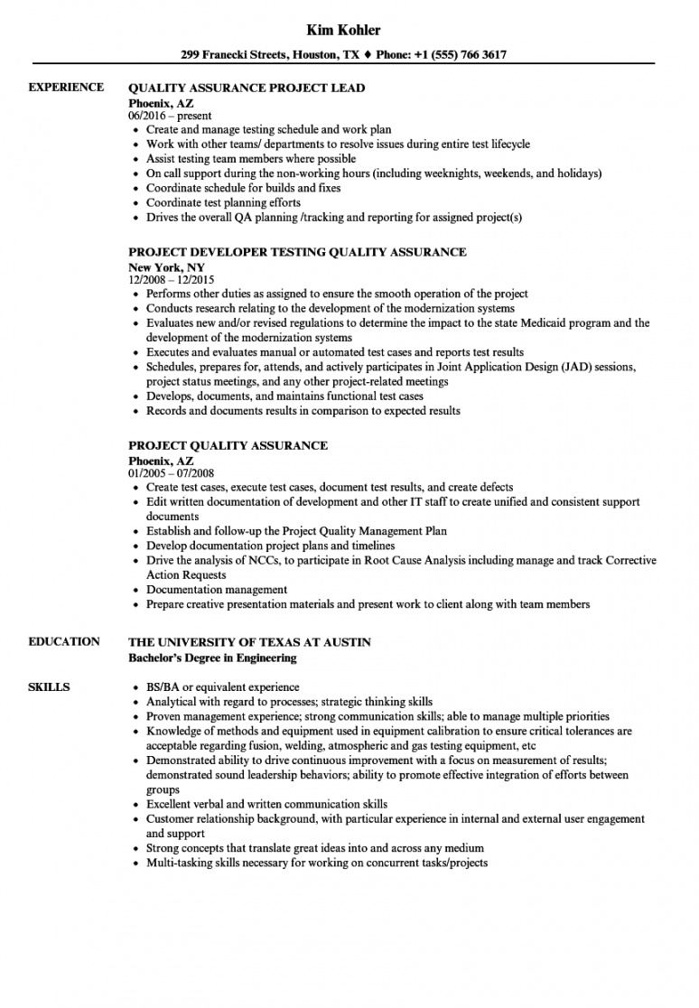 Printable Project Quality Assurance Resume Samples  Velvet Jobs Quality Assurance Meeting Agenda Template Example