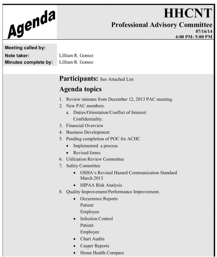 printable samples of hhcnt workreports  home health care network quality assurance meeting agenda template sample