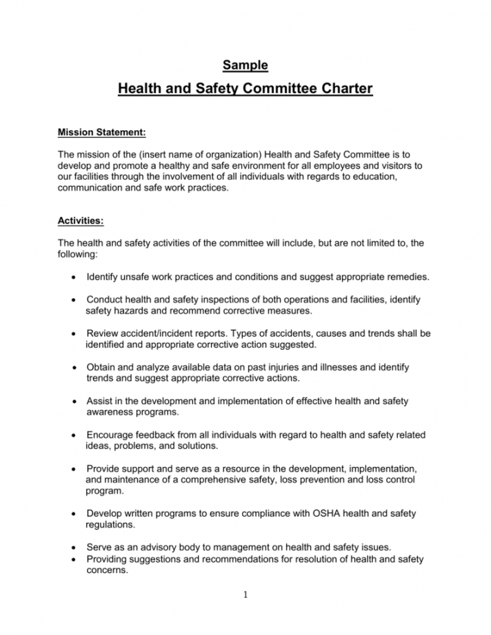 Sample Health And Safety Committee Charter Safety Committee Meeting Agenda Template Doc