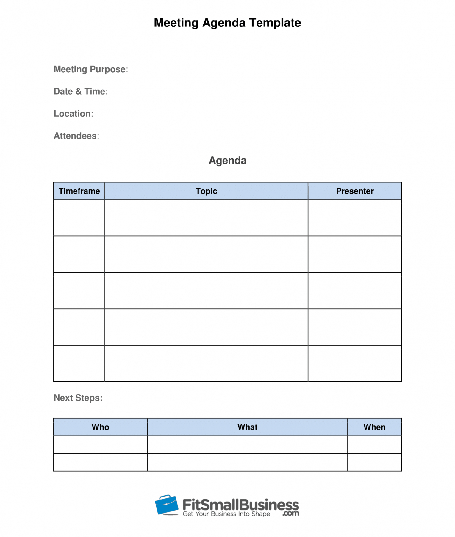 Sample How To Run Effective Meetings In 10 Steps [ Free Template] Meeting Agenda Template Word Download PDF