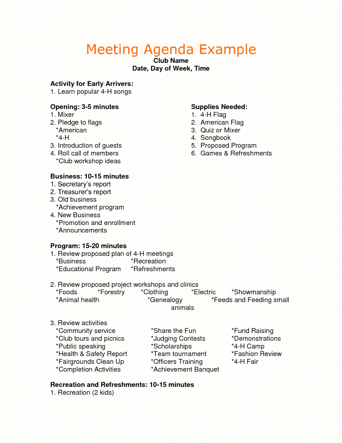 Sample Sample Agenda For Business Meeting  Google Search  Agenda Multi Day Meeting Agenda Template Excel