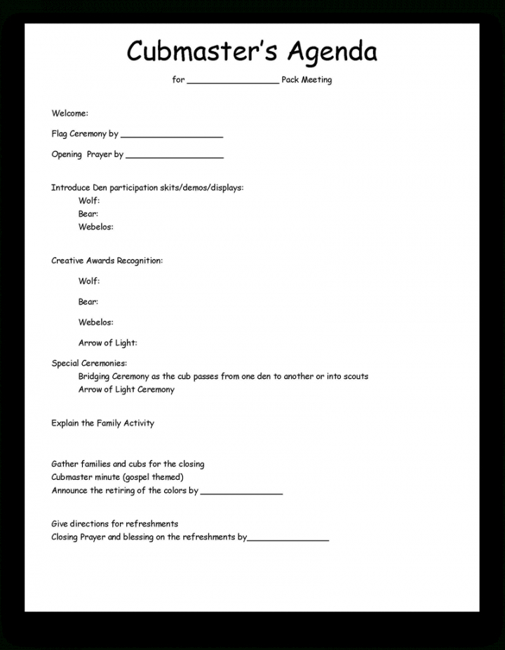 Scouting  Sandpointstakecommunications Cub Scout Den Meeting Agenda Template Example