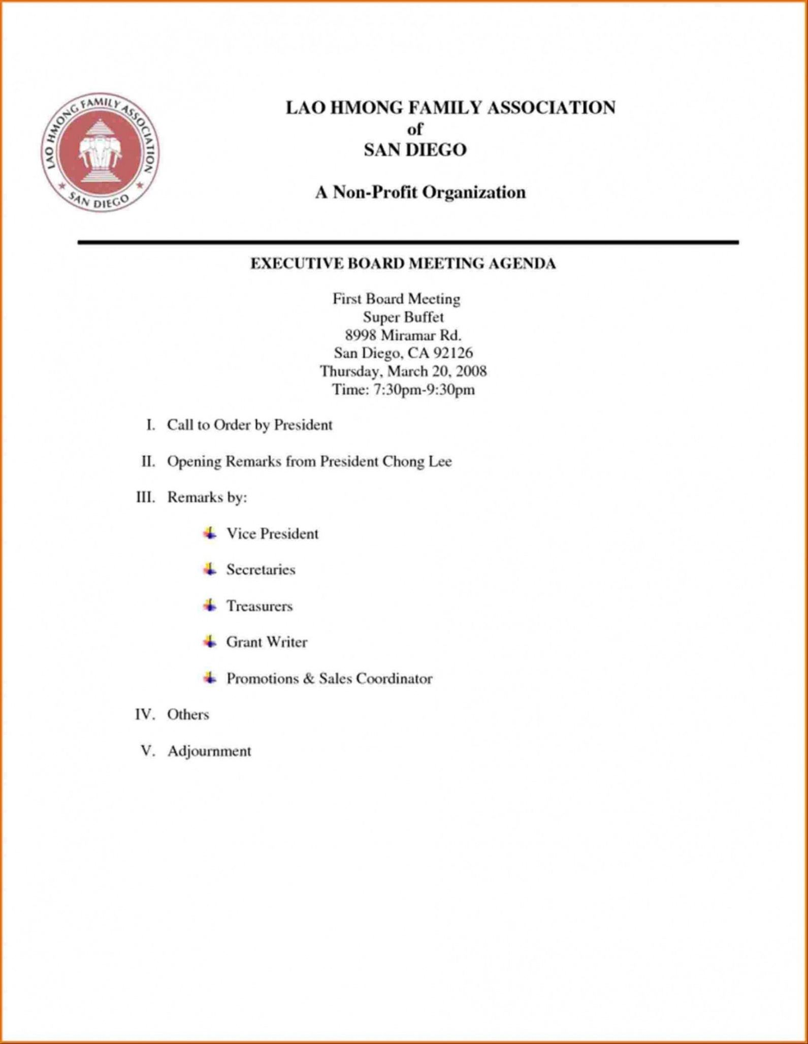 board meeting agenda template non profit agenda for a meeting template
