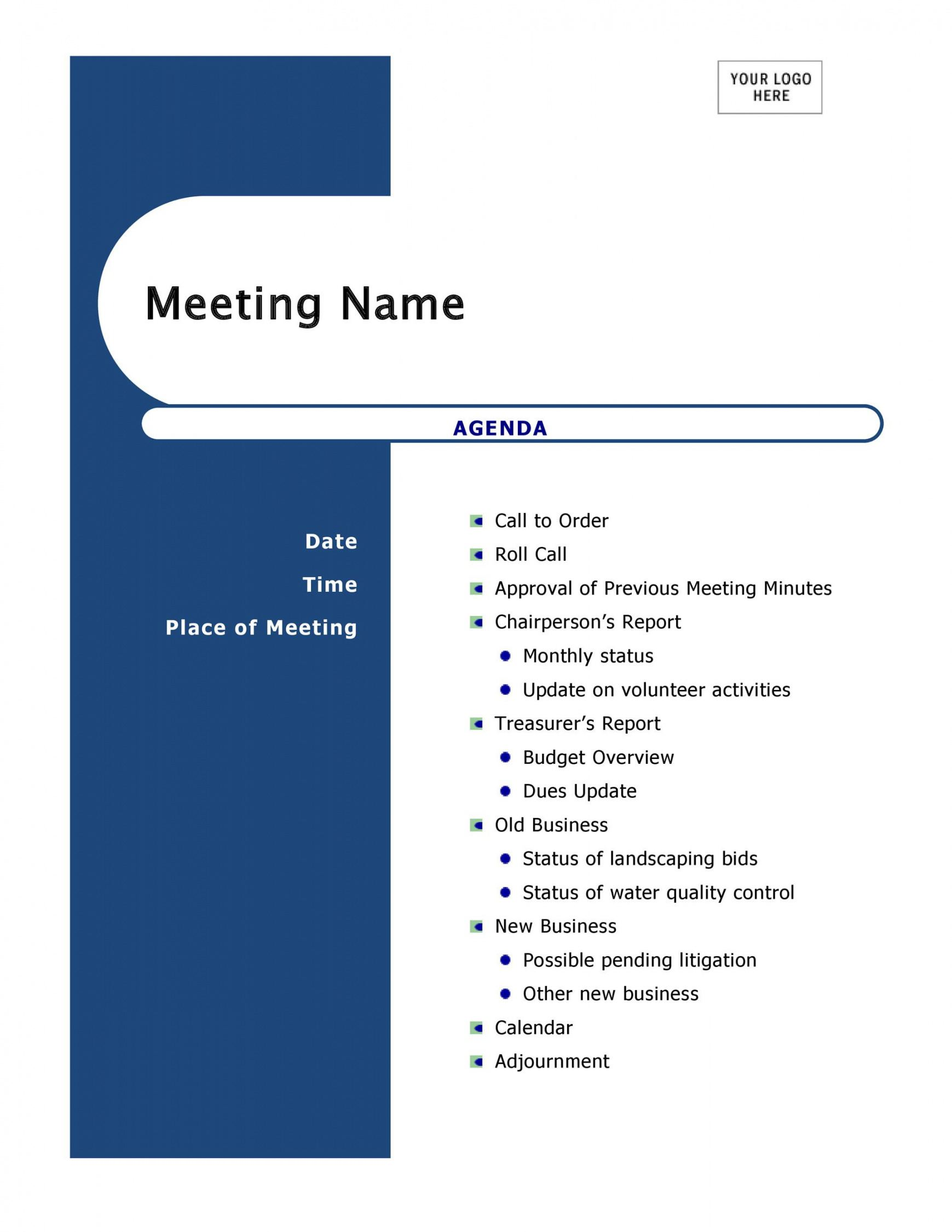 editable 46 effective meeting agenda templates ᐅ templatelab template for business meeting agenda