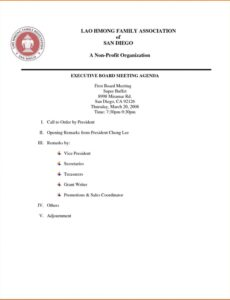 editable board meeting agenda template ~ addictionary first board meeting agenda template pdf