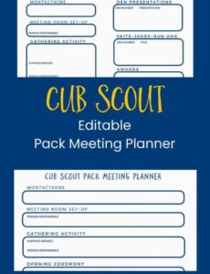editable free cub scout pack meeting planner ~ cub scout ideas cub scout pack meeting agenda template word