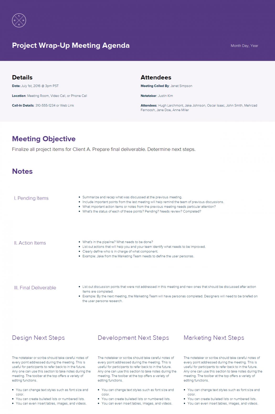 editable how to create a meeting agenda  xtensio how to create an agenda template example