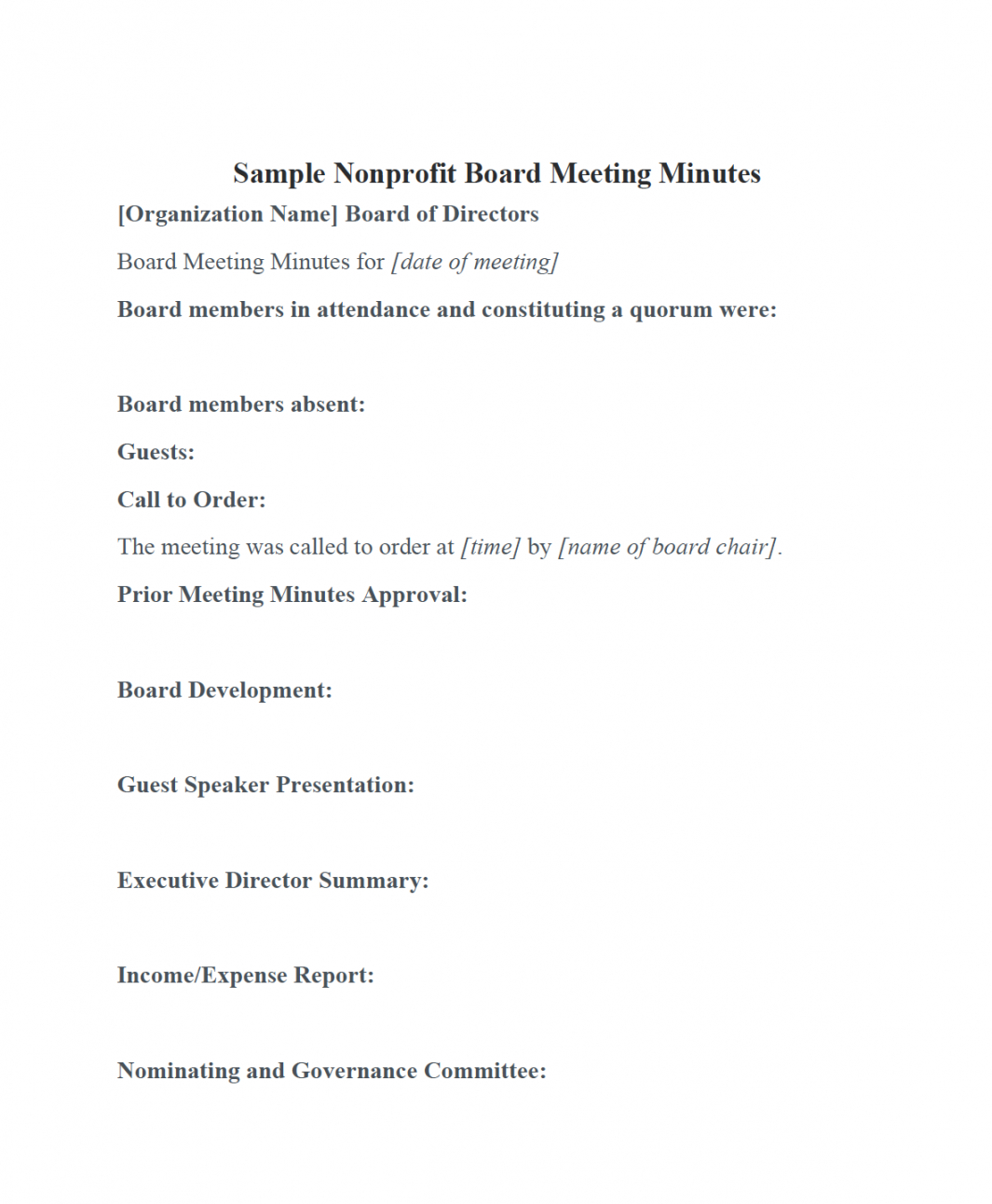 editable nonprofit board meeting minutes template  diligent insights advisory board meeting agenda template sample