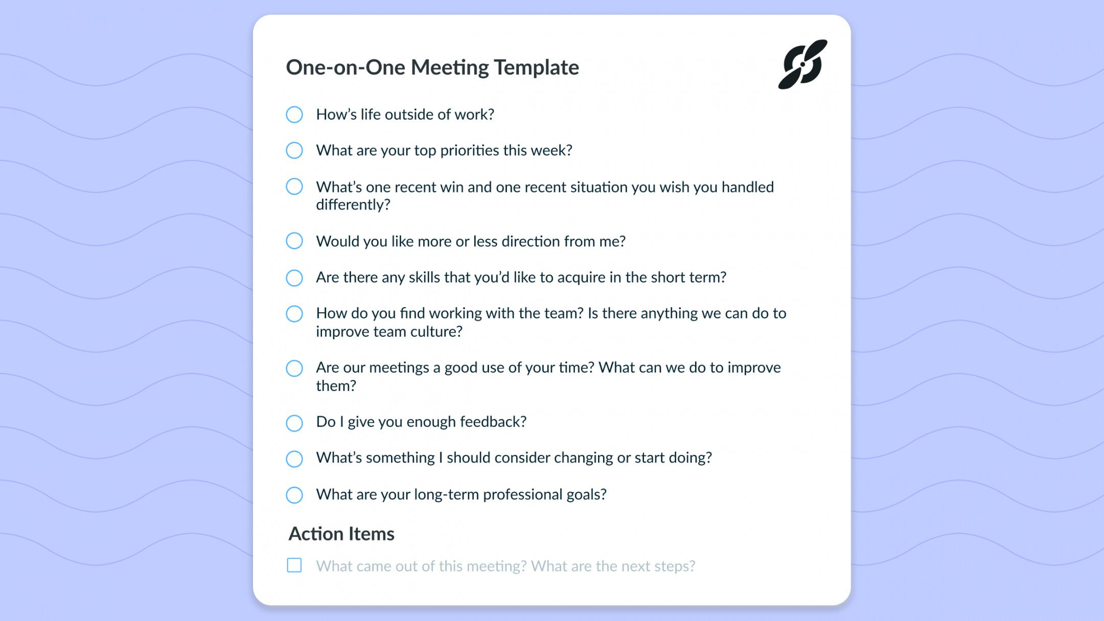 free one on one meeting template top 10 questions great managers one on one meeting agenda template free word