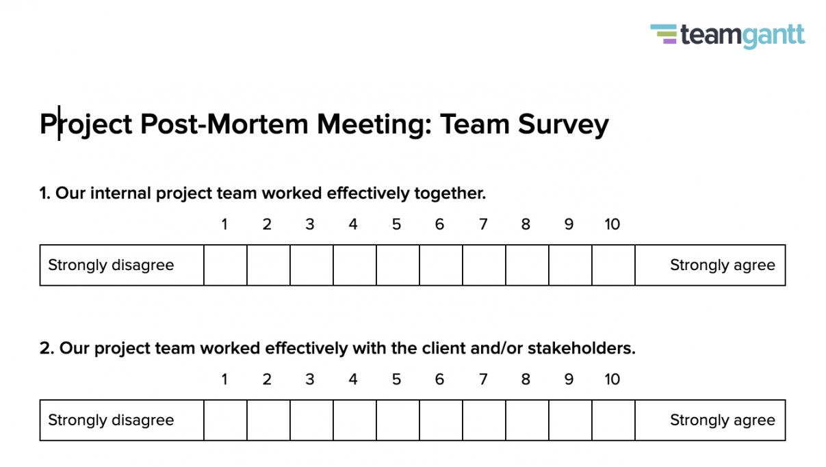 postmortem meeting template and tips  teamgantt post mortem meeting agenda template example