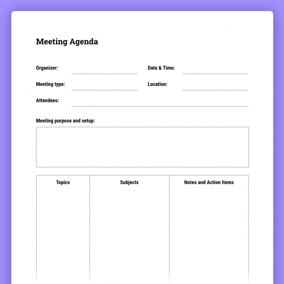 printable how to run effective meetings with templates  the moqups blog agenda for a meeting template sample