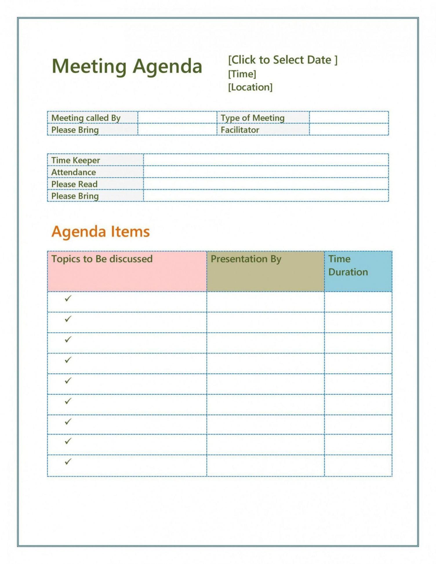 sample agenda for a meeting template agenda for a meeting template word