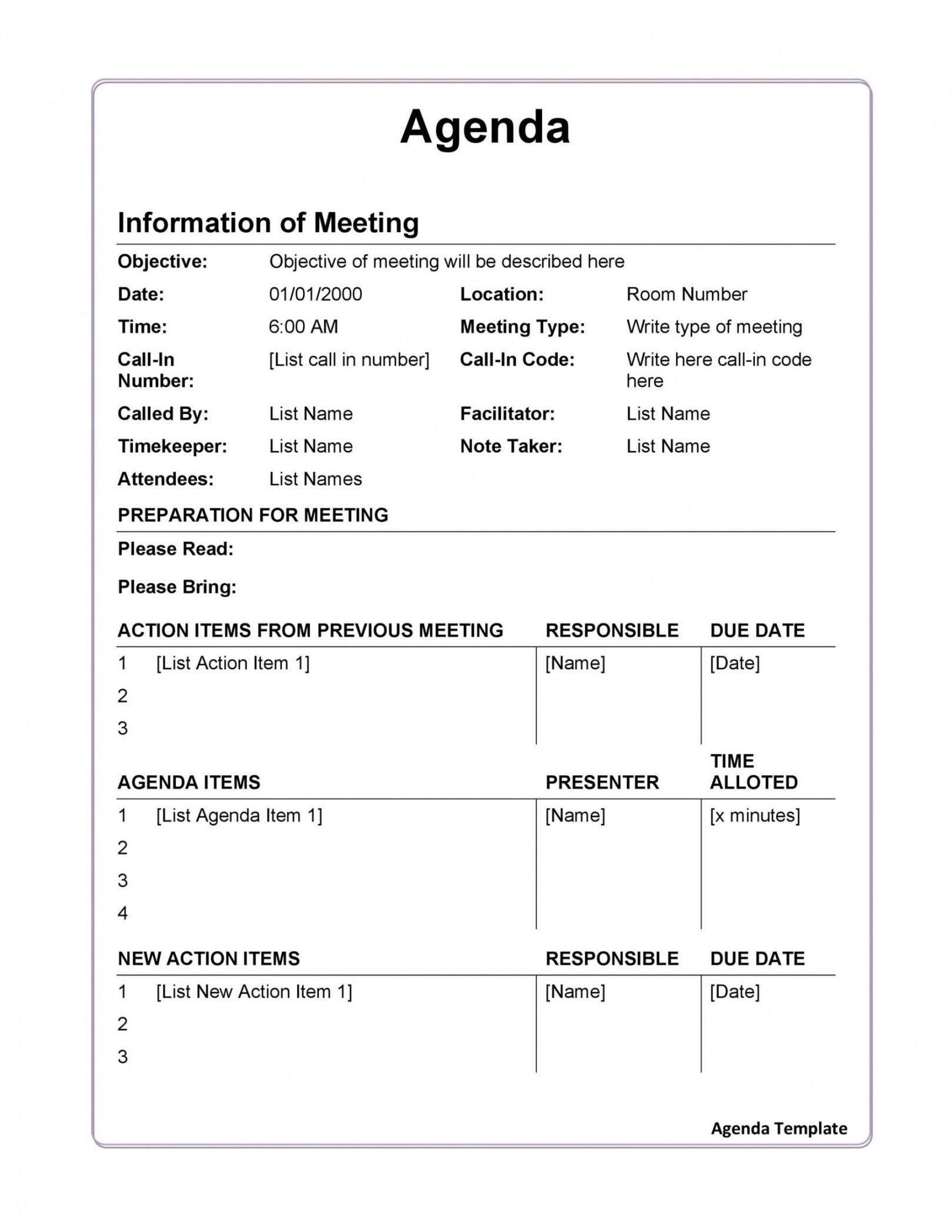sample agenda template with attendees sample agenda template for meeting example
